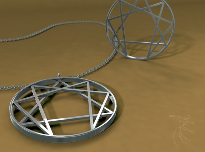 Enneagram  pendant / Fourth way pendant  3d printed A digital representation, Cinema 4D render