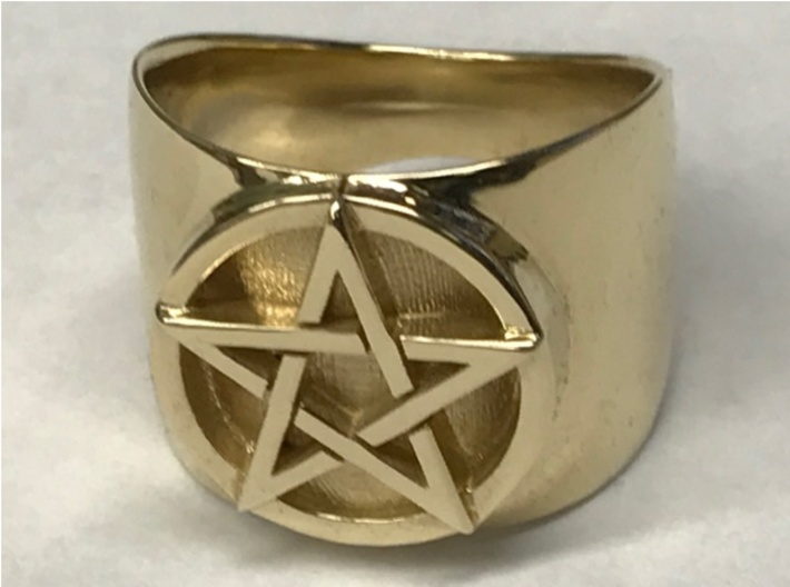 Pentacle Ring - large (choose size) 3d printed Thick pentacle ring in polished brass. Note that the polishing does not extend into the surface behind the pentacle; this is intentional in my design.