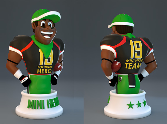 Mini football hero - version Black 3d printed 3d render version