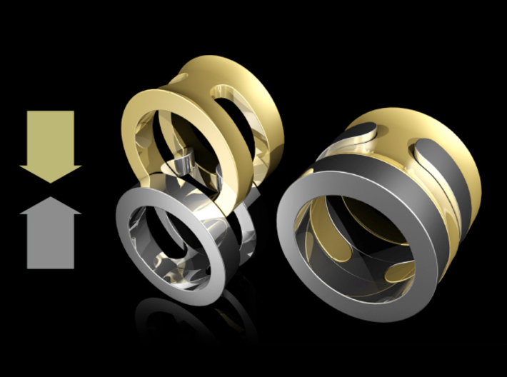 SIMBIOSI US 5.75 (EU 50.87) 3d printed Two identical rings can be put together