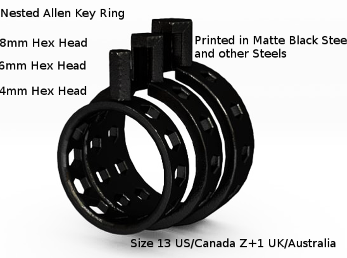 Nested Allen/Hex Key Mens Ring 3d printed