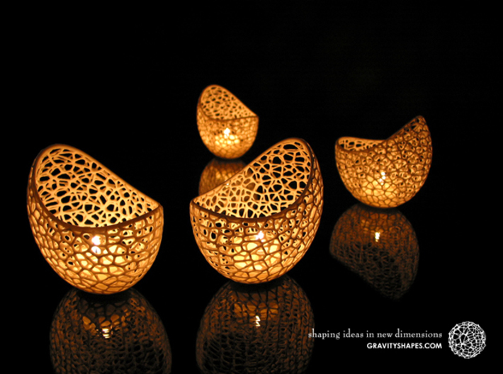 Filigree double wall tealight holder 3d printed Shapeways prints with White Strong and Flexible Polished