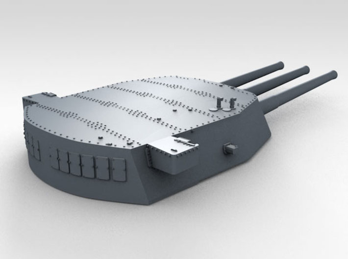 "1/200 16""/45 MKI HMS Rodney Turrets 1927 3d printed 3d render showing A Turret detail (Barrels not included)"