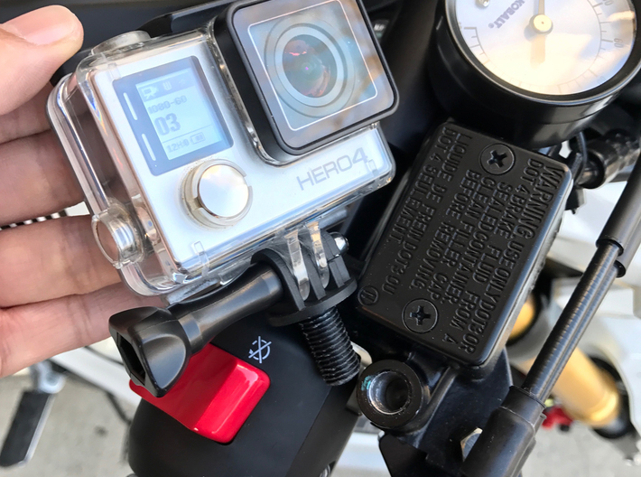 Honda Grom GoPro Mount in Place of Rear View Mirro 3d printed
