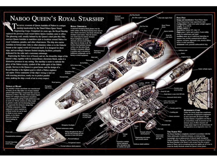 1/350 J-type 327 Nubian/Naboo Royal Starship 3d printed