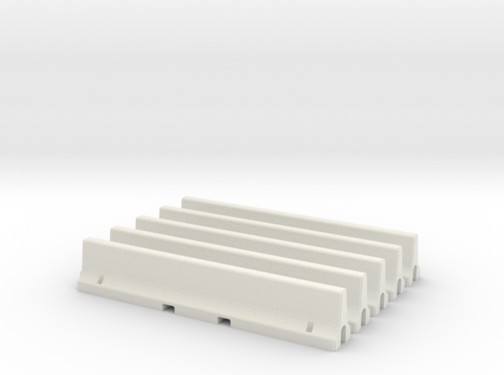N Scale 5x Jersey Barrier 3d printed
