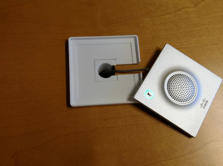 """Cisco Mic-20 Table Top Microphone Mount 3d printed Mount Installed in 1"""" hole."""
