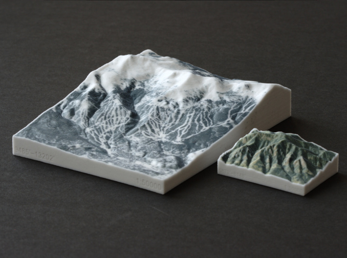 Breckenridge in Winter, Colorado, 1:50000 3d printed Breckenridge next to the Flatirons, both at 1:50000 scale