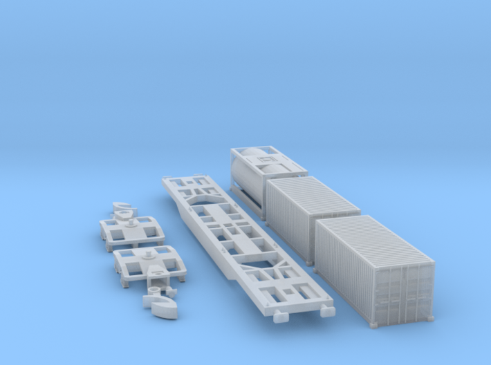 Containertragwagen Sgnss mit 3x 20ft Container 3d printed