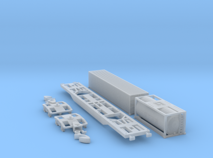 Containertragwagen Sgnss mit 20ft + 40ft Container 3d printed