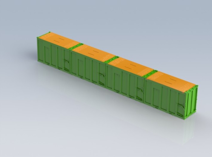 HO 1/87 MSW 4x Trash Containers for Atlas Flatcar 3d printed Designed as an alternative style to the Atlas trash containers.