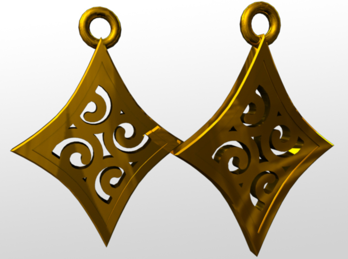 Ace Earrings - Diamonds 3d printed rendered image
