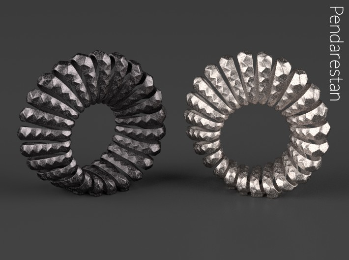 Mobelix 3d printed Mobelix I, fine art geometric sculpture of the Mobius strip, in Polished Nickel Steel (right)