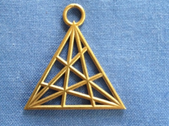 Triangle 3d printed In raw bronze