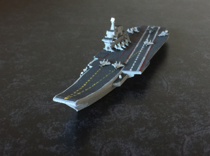 PLA[N] 001A Carrier (2016), 1/1800 3d printed With J-15/Su 33 and Z-8/18 Set