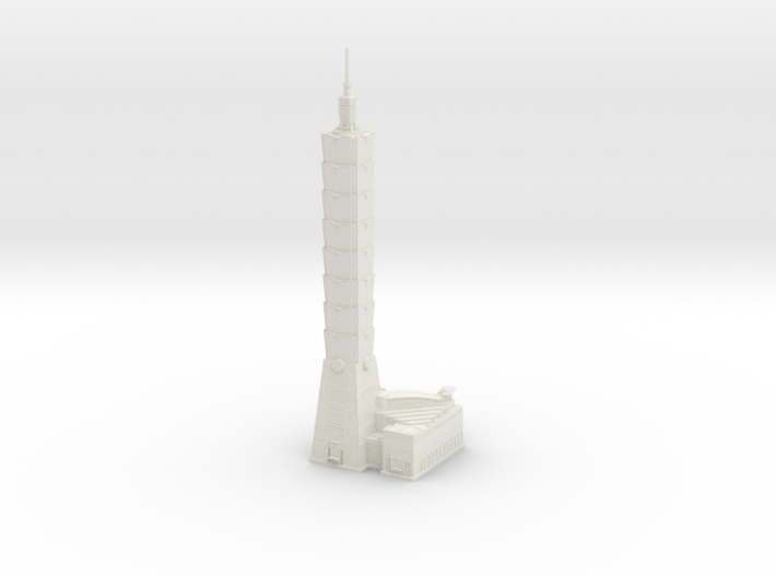 Taipei 101 (1:2000) 3d printed Assembled model.