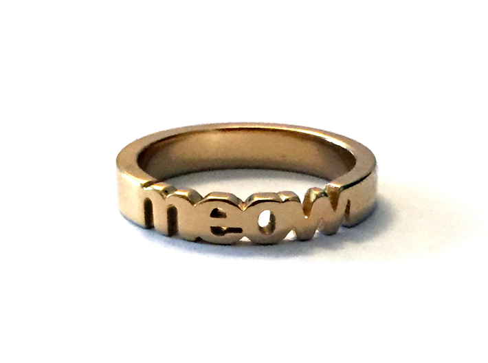 meow ring in 14k gold plated 3d printed