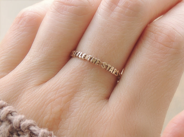Rattle The Stars Ring (Multiple Sizes) 3d printed 'Rattle The Stars' Ring in Polished Bronze