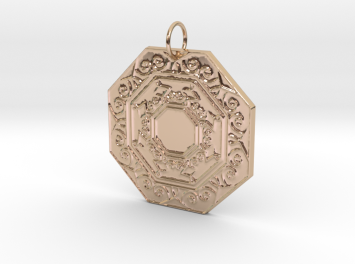 Ornate Octagon Pendant 3d printed
