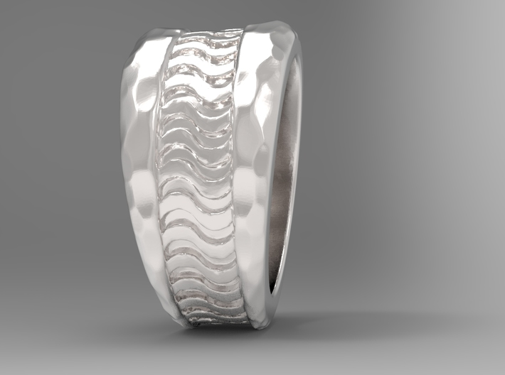 Wave Ring S B 3d printed