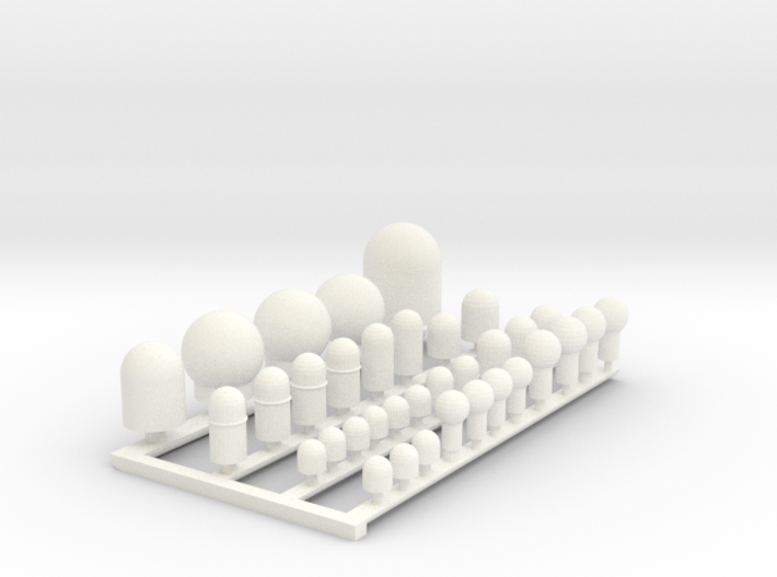 1:144 Scale Supercarrier SATCOM Domes 3d printed