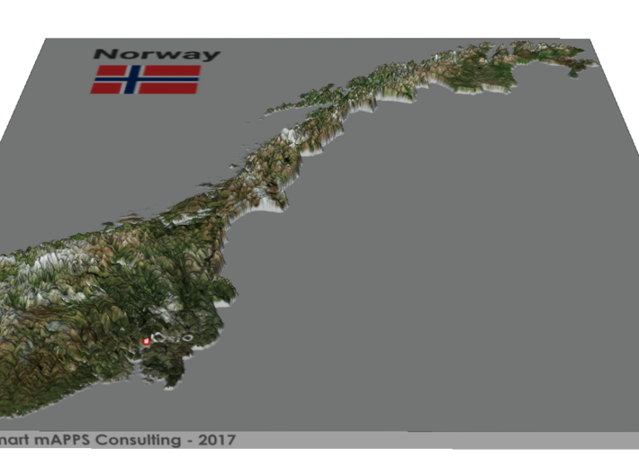 Norway Map 3d printed