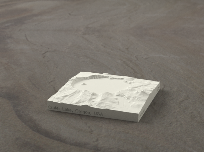 3'' Crater Lake, Oregon, USA, Sandstone 3d printed Radiance rendering of model, viewed from the south.