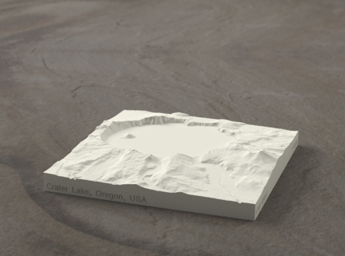 4'' Crater Lake, Oregon, USA, Sandstone 3d printed Radiance rendering of model, viewed from the south.
