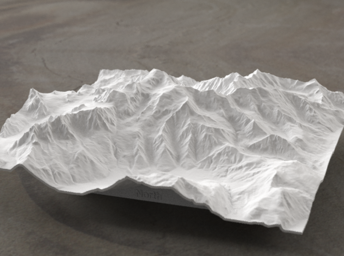 6''/15cm Mt. Blanc, France/Italy 3d printed Radiance rendering of model, viewed from the north.
