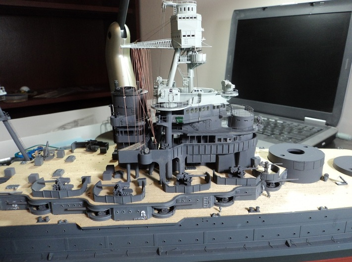 "1/200 USS Pennsylvania BB-38 Superstructure 1941 3d printed Model painted and detailed by Mark ""Mgunns"". Photo by same."