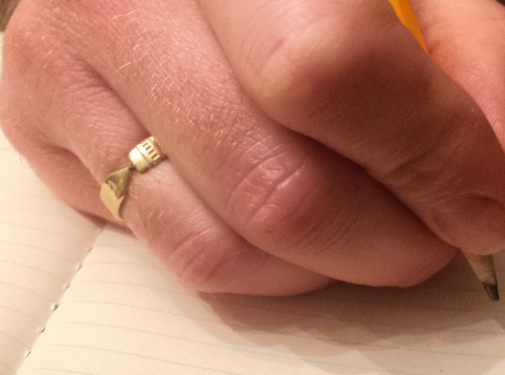 Pencil Ring, Size 6.5 3d printed Raw brass