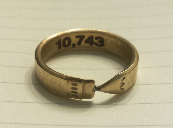 Pencil Ring, Size 10 3d printed Raw brass, customized on the inside of the band with a word-count.
