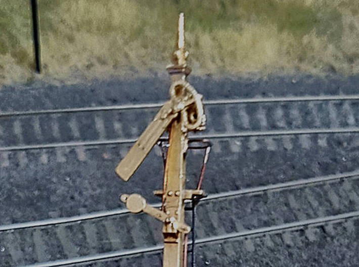 HO NSWR LQ Signal 18 ft Post + Parts 3d printed A completed signal showing detail