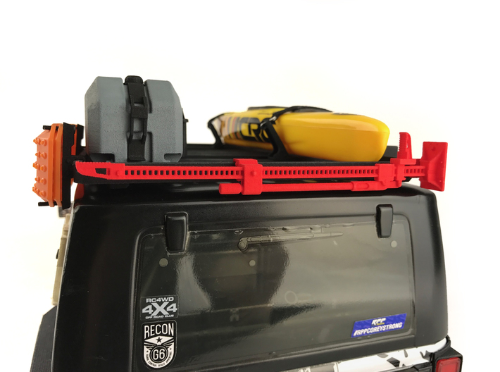 FR10022 Jack and Bracket - RED 3d printed Shown mounted to Slimline II rack on a Axial JK (sold separately)