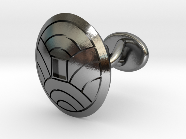 "Japanese Kamon cufflink ""裏浪銭紋"" 3d printed"
