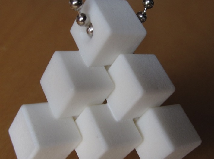Three Piece Block 3d printed Hanging by a chain