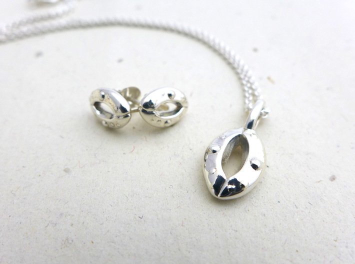 Stomata Earrings - Science Jewelry 3d printed Stomata pendant and earrings