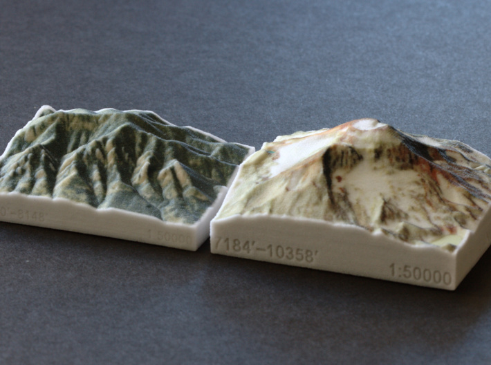 South Sister, Oregon, USA, 1:50000 3d printed South Sister next to Colorado's Flatirons, both in the same scale