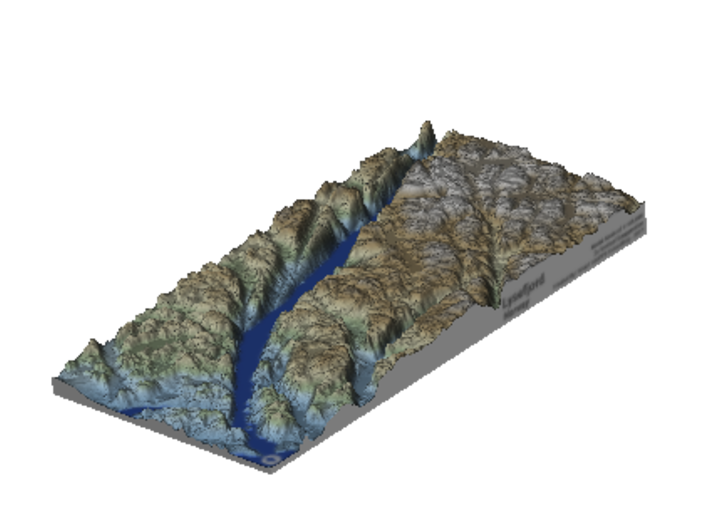 Lysefjord / Lysefjorden Relief Map, Norway 3d printed