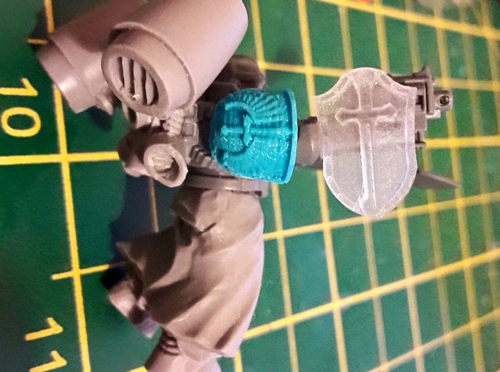 Arm-mounted Combat Shields (Sword Detail) 3d printed Space Marine shown for scale