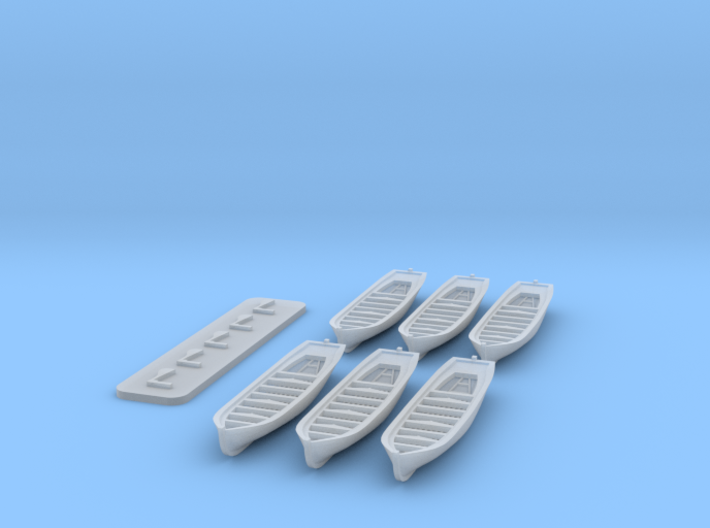 16-oared work boat, 6-pack, 1/700 3d printed