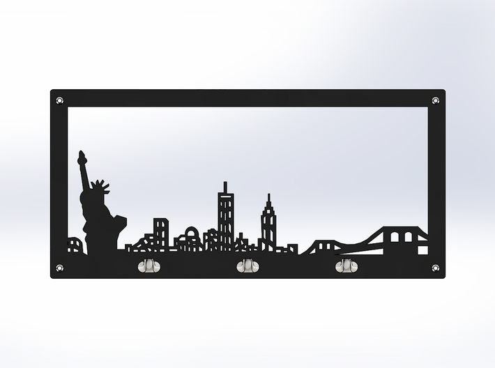 New York Skyline - Key Chain Holder With Border 3d printed  Front Black