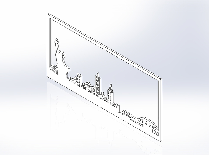 New York Skyline - 2.75 X 5.75 (S) 3d printed Iso