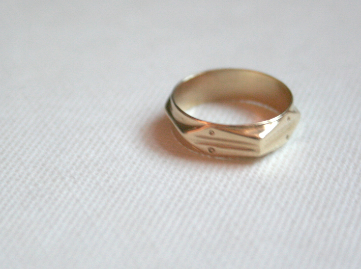 Abstract Ring No.4 3d printed Polished Brass