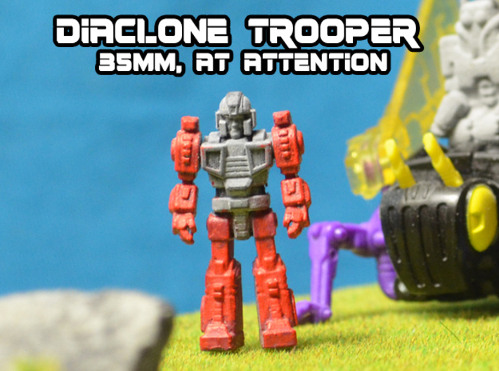 Diaclone Trooper, at attention 35mm Mini 3d printed hand painted Black Hi-Def Acrylate