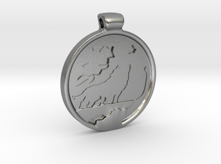 Wolves howling at the moon pendant 3d printed