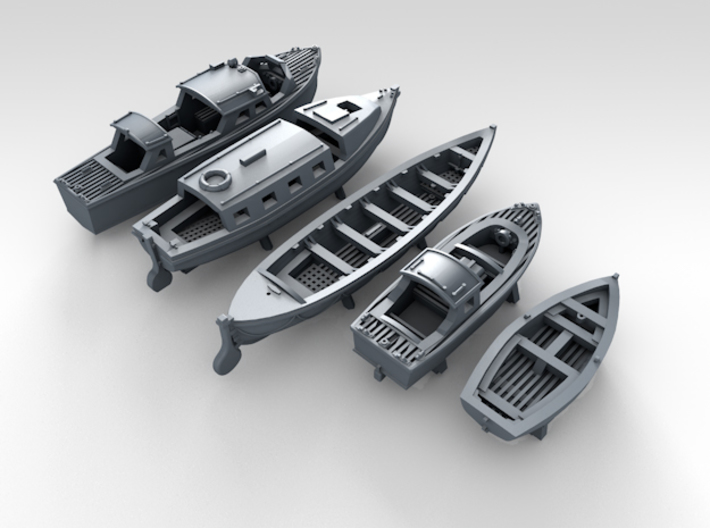 1/350 Scale RN Tribal Class Boat Set 3d printed 3d render showing set