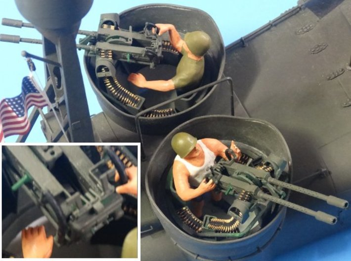 PT Boat dual 50 cal BMG - 1/20 scale 3d printed Photo shows these parts being used.
