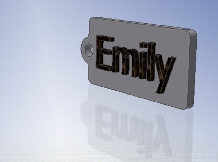 Name Tag Emily Key chain Fob Zipper Tag 2x1x02in 3d printed CAD Render