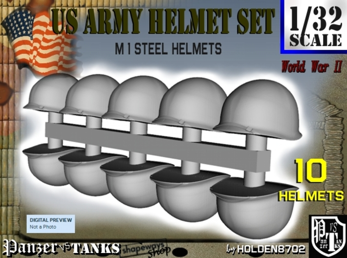 1-32 US M1 Helmets Set1 3d printed
